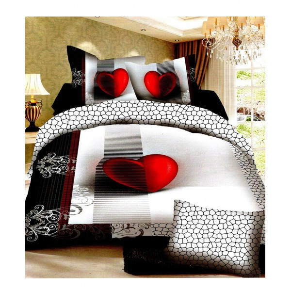 Prizma Black White Heart Satin Cotton Bedsheet P-1020