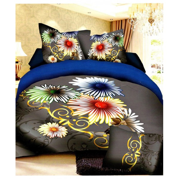 Prizma Grey Floral Satin Cotton Bedsheet P-1021
