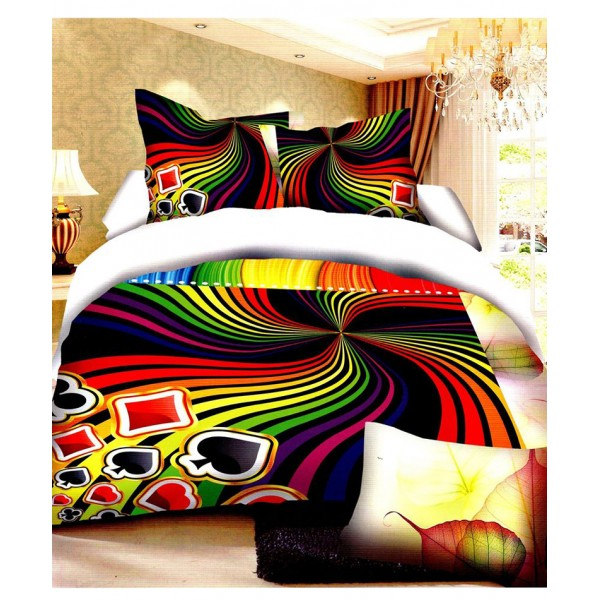 Prizma Multicolored Card Pattern Satin Bedsheet P-1007