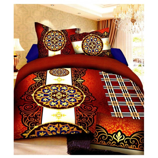 Prizma Orange Checkered Design Satin Bedsheet P-1006