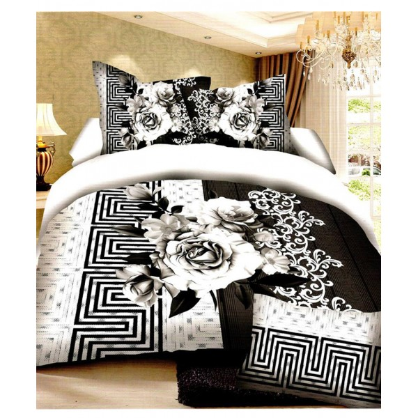 Prizma White Black Floral Satin Cotton Bedsheet P-1012