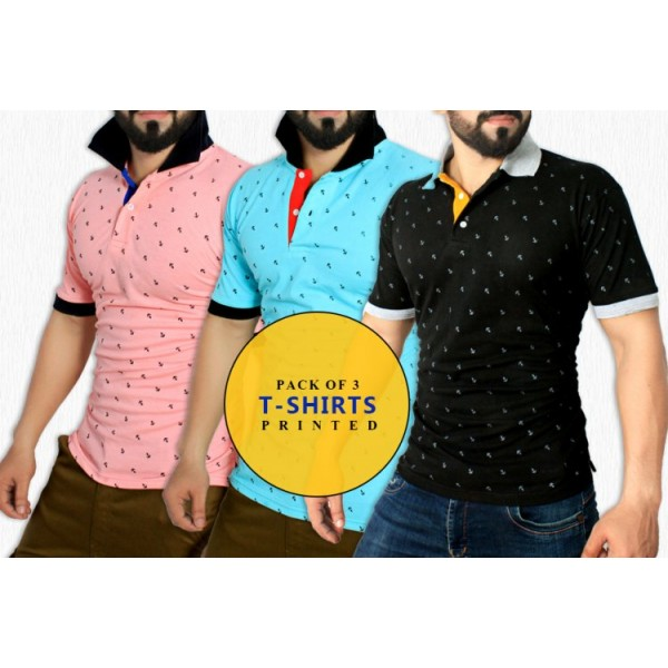 Pack Of 3 Printed Stylish T-Shirts GB-158