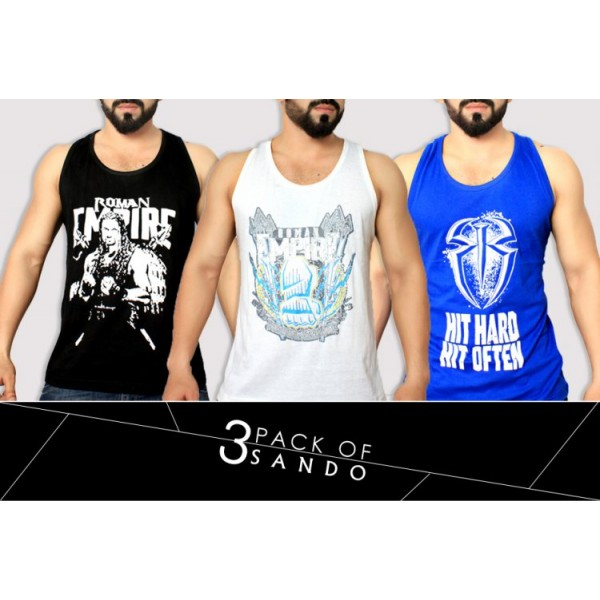 Pack Of 3 Printed Stylish Top Tank Sando AY-652