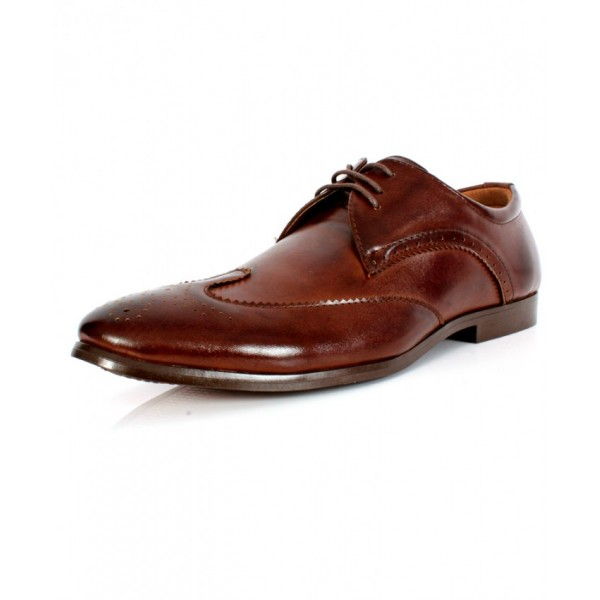 Brown Front Stitched Design Formal Shoes CB-2111