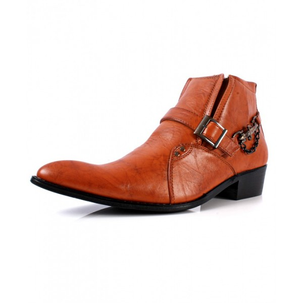 Brown Cowboy Pointed Toe Slip On Ankle Boots CB-6002