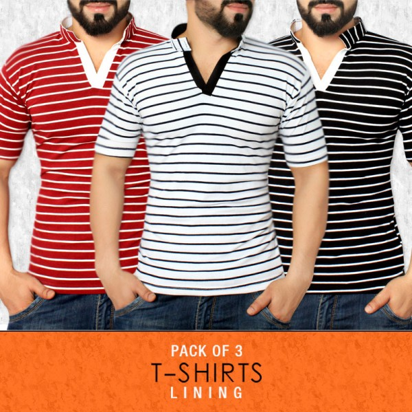 Pack Of 3 Lining Stylish Tees CN-888