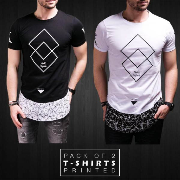 Pack Of 2 Printed Stylish T-Shirts DC-212