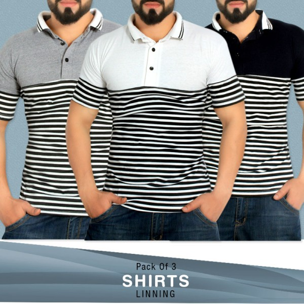 Pack Of 3 Lining Stylish T-Shirts LA-244