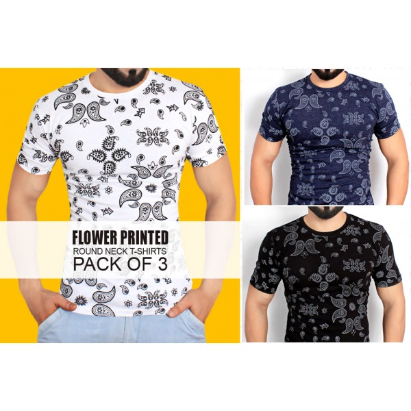 Pack Of 3 Flower Printed Stylish T-Shirts CQ-025