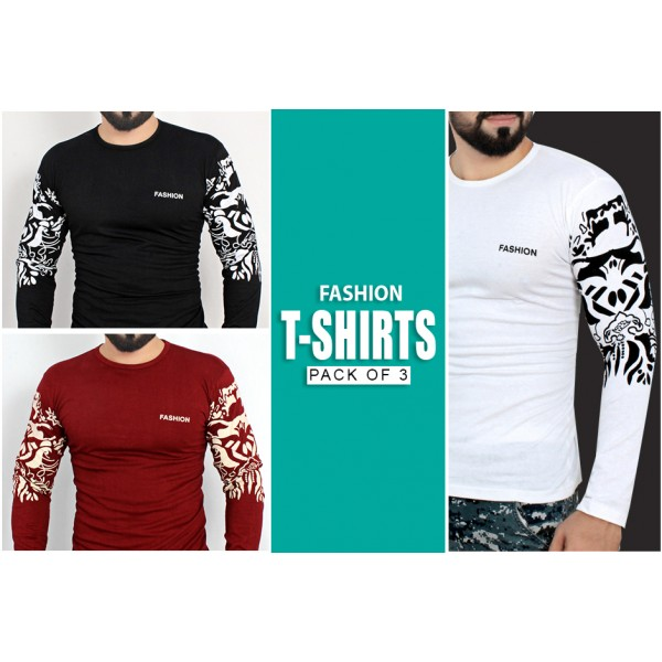 Pack Of 3 Arm Printed Stylish Design T-Shirts NZ-120