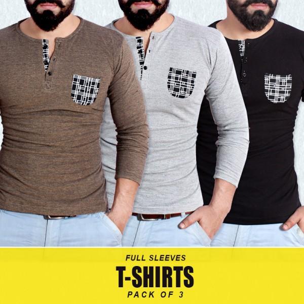 Pack Of 3 Full Sleeves T-Shirts MA-8789