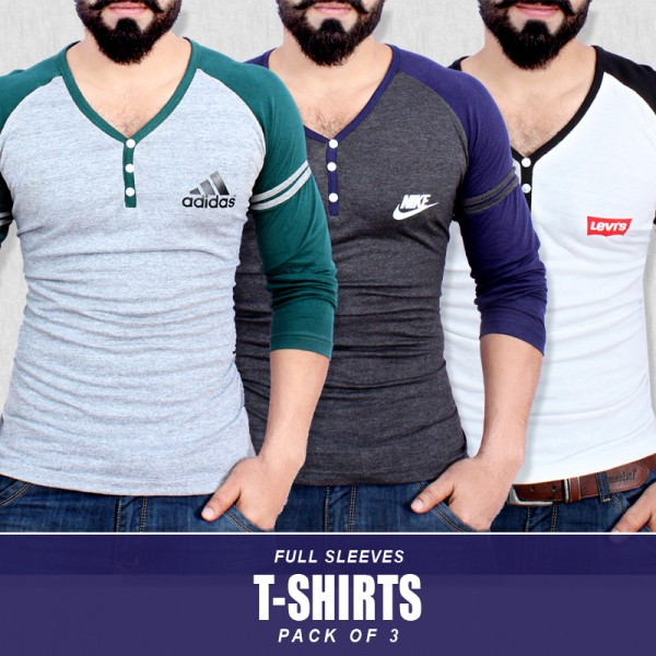 Pack Of 3 Full Sleeves T-Shirts SH-569
