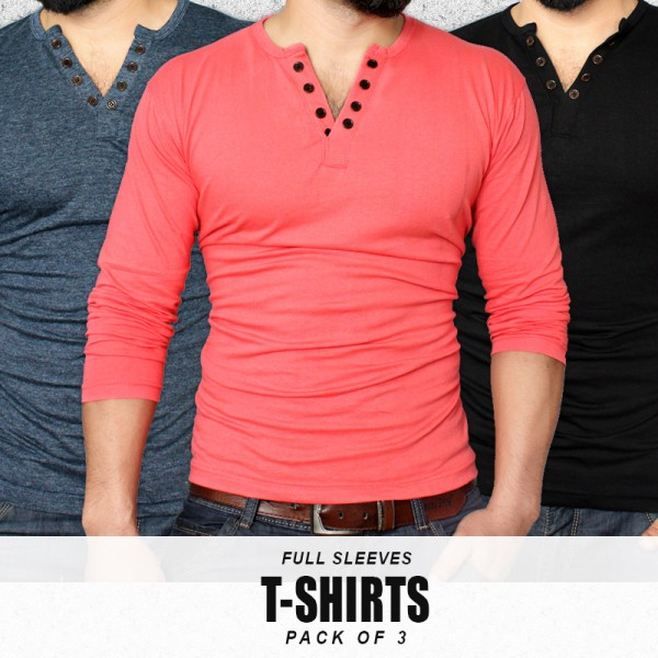 Pack Of 3 Full Sleeves T-Shirts DH-5354