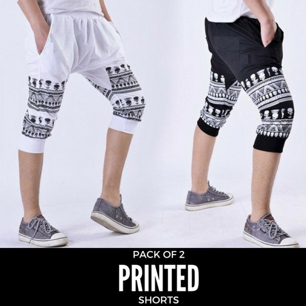 Pack Of 2 Half Printed Shorts