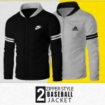 Pack of 2 Baseball Collar Front Zipper Jackets