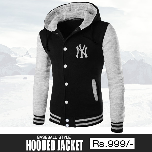 Black Baseball Hooded Jacket for Men