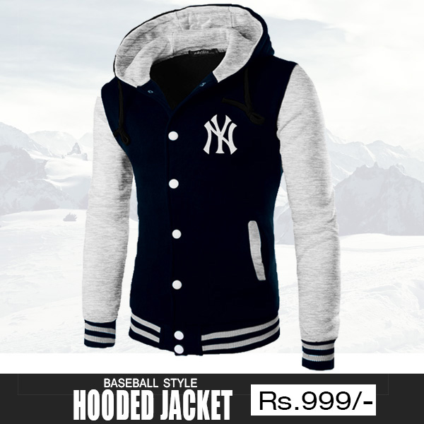Navy Blue Baseball Hooded Jacket for Men