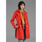 Red Dotted Style Winter Coat For Women