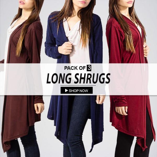 Pack Of 3 Long Shrugs