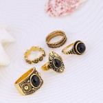 5 pcs Vintage Retro Carving Antique Gold Color With Black Stone Ring