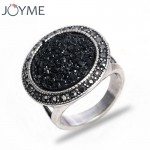 Black Stone Antique Silver Plated Vintage Ring