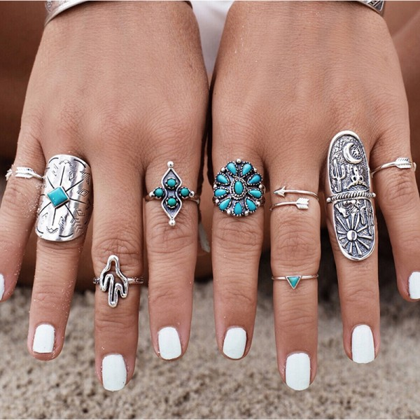 9PCS Vintage Bohemian Antique Silver Rings