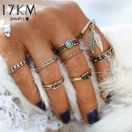 8PCS Punk Style Retro Antique Gold Color Rings