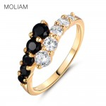 Black Crystals CZ  Love Ring Jewelry