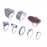 8PCS Bohemian Vintage Tiger Eye Stone Rings Set