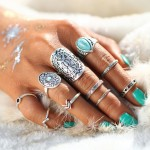 10 Pcs/Set Antique Silver Color Bohemian Vintage Rings