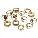 13pc Vintage Lotus Midi Knuckle Ring Set