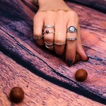 9 Pcs Set Antique Silver Color Bohemian Rings