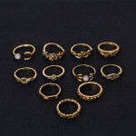 11Pcs/Set Vintage Punk Antique Flower Carved Rings