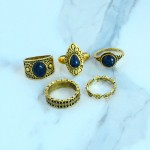 5pcs Vintage Metal Antique Rings