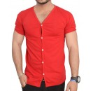 Red V-Neck Cardigan Style Summer T-Shirt