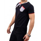 Black And Grey Cross Neckline T-Shirt