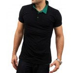 Black Green Contrast Collar T-Shirt