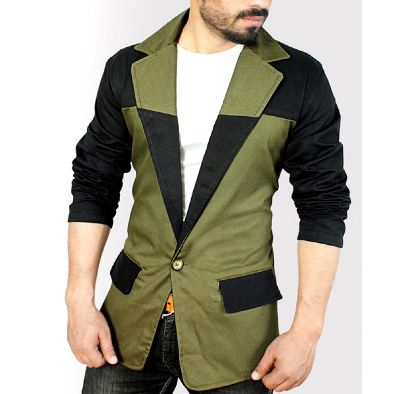 Buy 2 Pocket Green Black Contrast Casual Blazer Online In ...