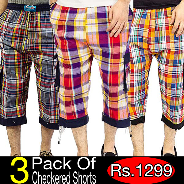 Pack Of 3 Checkered Shorts