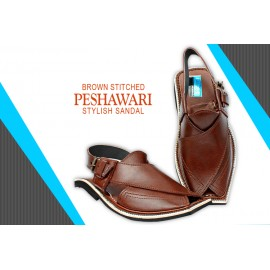 Brown Stitched Stylish Design Peshawari Sandal AK-5027