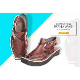 Brown Stitched Design Stylish Peshawari Sandals