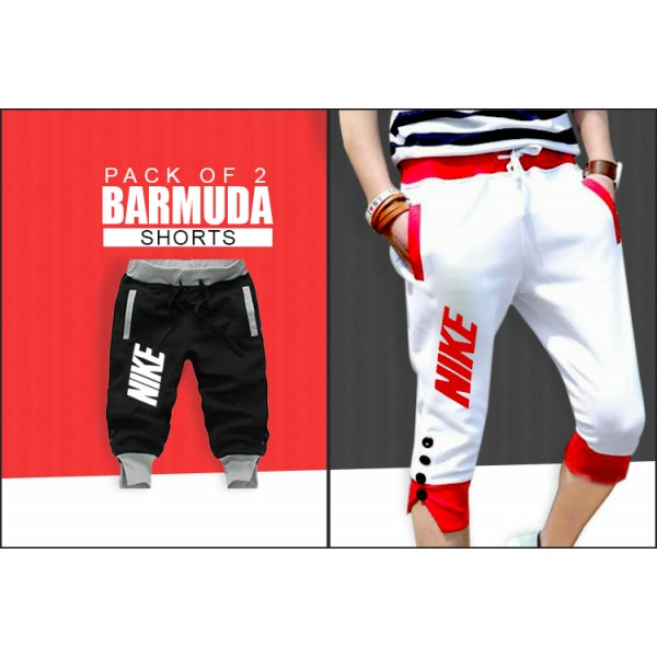 Pack Of 2 Black and White Bermuda Shorts