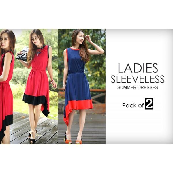 Pack Of 2 Sleeveless Summer Dresses 01