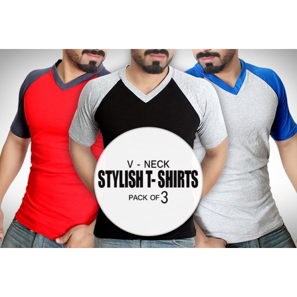 Pack of 3 V-Neck Stylish T-Shirt MT-7033