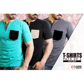 Pack Of 3 Round Collar Zipper T-Shirts