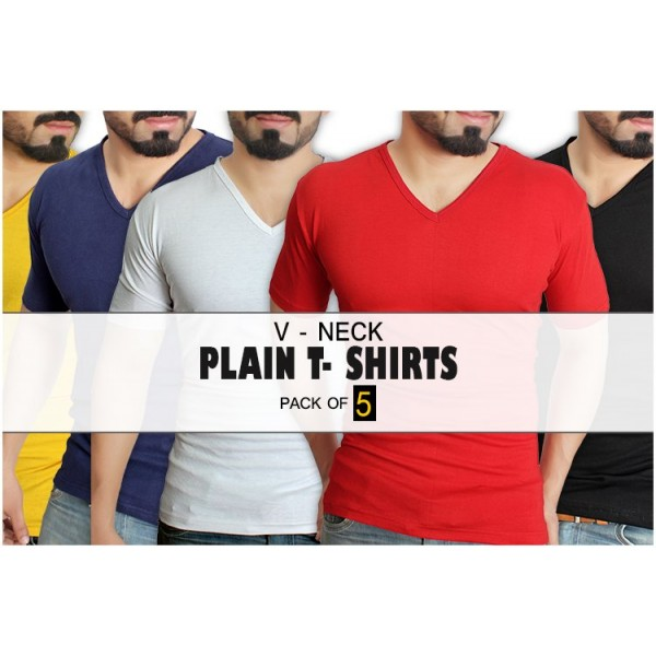 Pack of 5 Plain V-Neck T-Shirt MT-7034