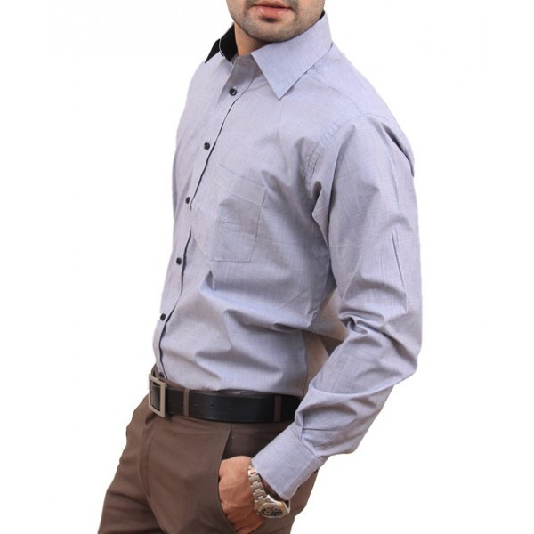 Silver Grey Men Formal Shirt