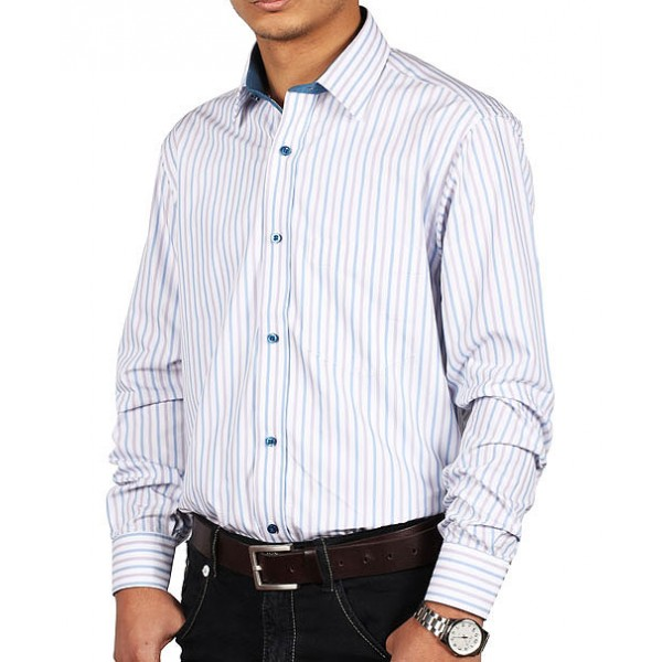 White Blue Lining Formal Shirt