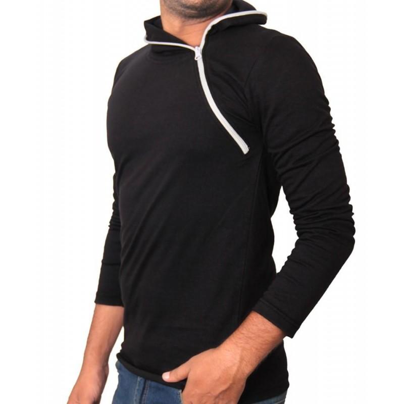 Black side zipper hoodie style full sleeves t shirt for Full sleeve t shirts online