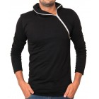Black Side Zipper Hoodie Style Full Sleeves T-Shirt